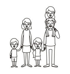 Silhouette caricature big family parents with girl vector