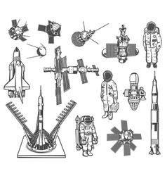 space icons astronaut rocket and satellite vector image