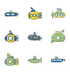 Submarine icons set cartoon style vector