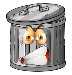 Trashcan with angry face vector image
