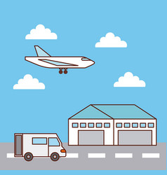 warehouse delivery airplane and truck transport vector image