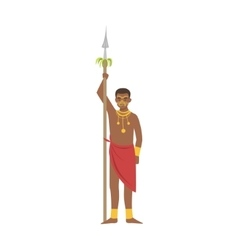 Warrior with spear from african native tribe vector