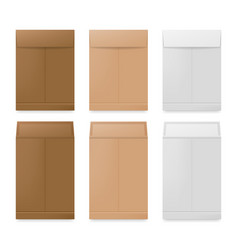 White beige and brown paper envelopes realistic vector