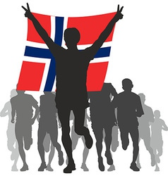 Winner with the Norway flag at the finish vector