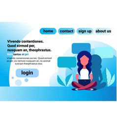 woman bubble chat communication sitting pose using vector image
