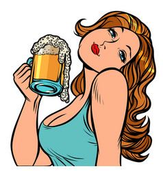 woman with a mug beer in profile isolate on vector image