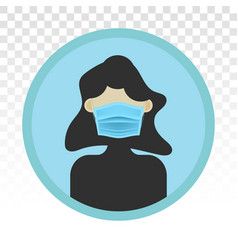 Women wear mouth masks or face mask - flat icon vector