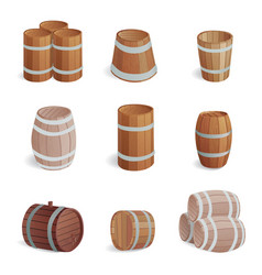 Wooden barrel vintage old style oak storage vector