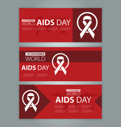 world aids day banners set layout design vector image