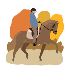 Young man in helmet sitting on brown horse back vector
