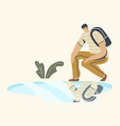 Young man with backpack squat looking on vector