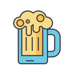 beer glass pint drink pub concept line vector image vector image