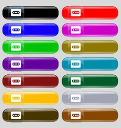 Cassette icon sign Set from fourteen multi-colored vector image vector image