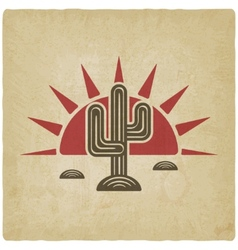 Desert cactus at sunset old background vector image vector image