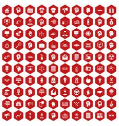 100 idea icons hexagon red vector