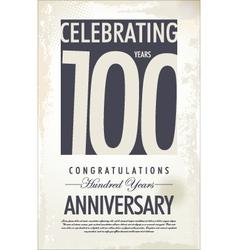 100 years anniversary retro background vector