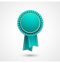 Blue and gold badge with ribbons award vector image vector image