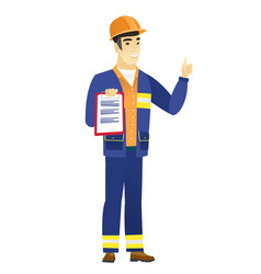 Builder with clipboard giving thumb up vector
