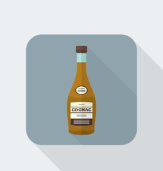 flat style cognac bottle icon with shadow vector image vector image