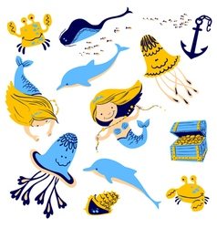 marine set with cartoon mermaid vector image