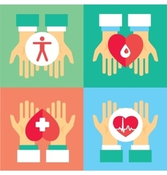Medical donation Hands give heart to another vector image