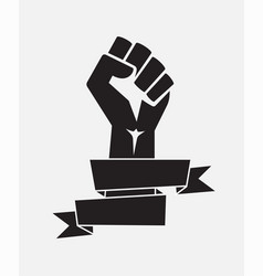 raised fist poster black with ribbon - isolated vector image