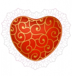 red heart with lace vector image