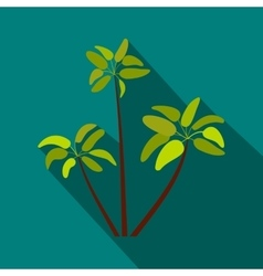 Three palm plant trees icon flat style vector image vector image