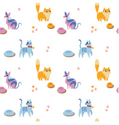unusual seamless pattern with cute cartoon cats vector image