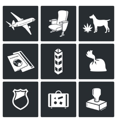 Airplane Drug trafficking icon set vector image vector image