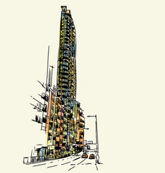 buildings sketchbook at hong kong vector image
