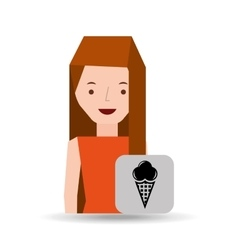 girl cartoon ice cream dessert icon vector image