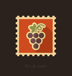 grapes flat stamp fruit vector image