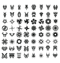 64PCS TRIBAL TATTOO SET vector image vector image