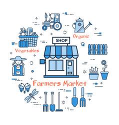blue round farmers market concept vector image vector image