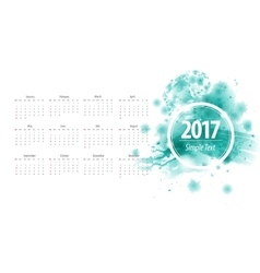 Calendar 2017 week starts from sunday blue vector image vector image