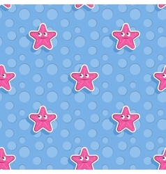 Marine seamless pattern with starfish vector image