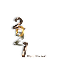 2021 golden bronze and silver bold numbers logo vector image