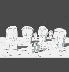 alien stone monolithic statues in space vector image