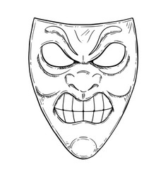 Artistic drawing of angry aggressive comedy mask vector