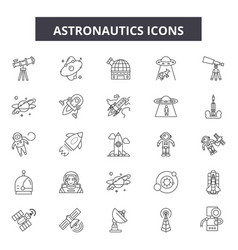 astronautics line icons signs set vector image