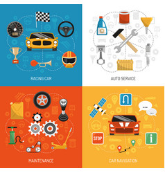 auto concept 4 flat icons vector image