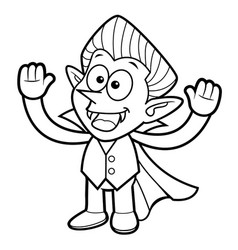 Black and white dracula mascot is welcome vector