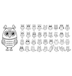black and white owls clipart set cute outline vector image