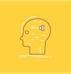 Brain hack hacking key mind flat line filled icon vector