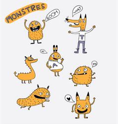 Cartoon animals the cute monster character vector