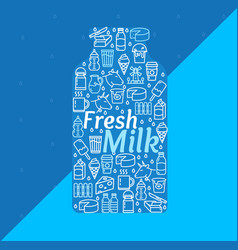 cartoon fresh milk dairy products concept vector image
