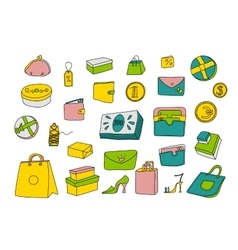 Cartoon shopping set in doodle style vector