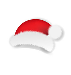 christmas santa claus cap white background vector image