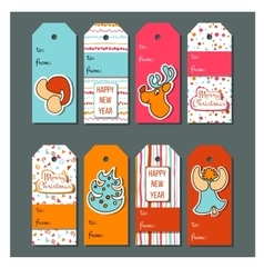 Christmas tags Funny Christmas label set vector image